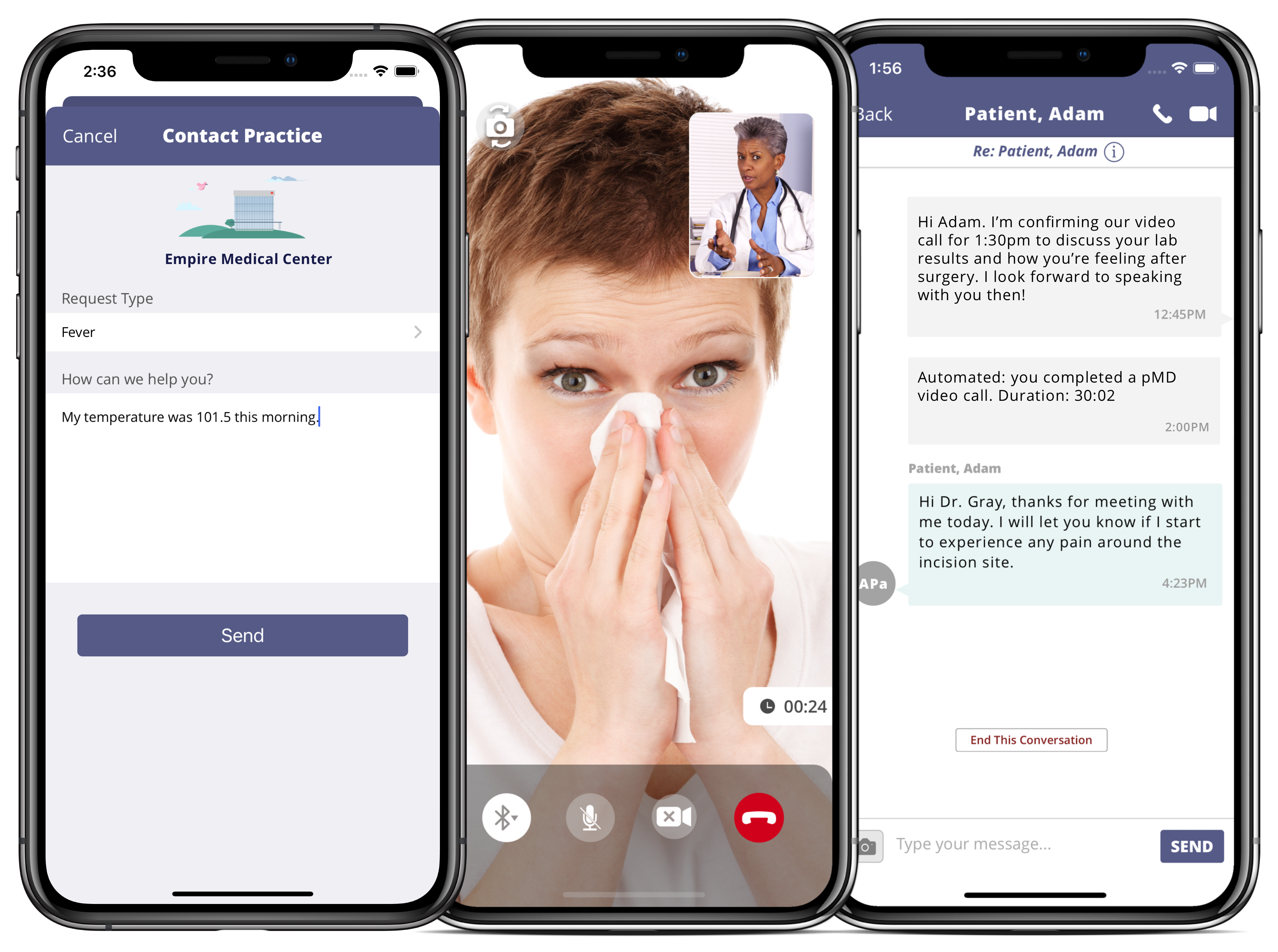 pMD for Telehealth app screens